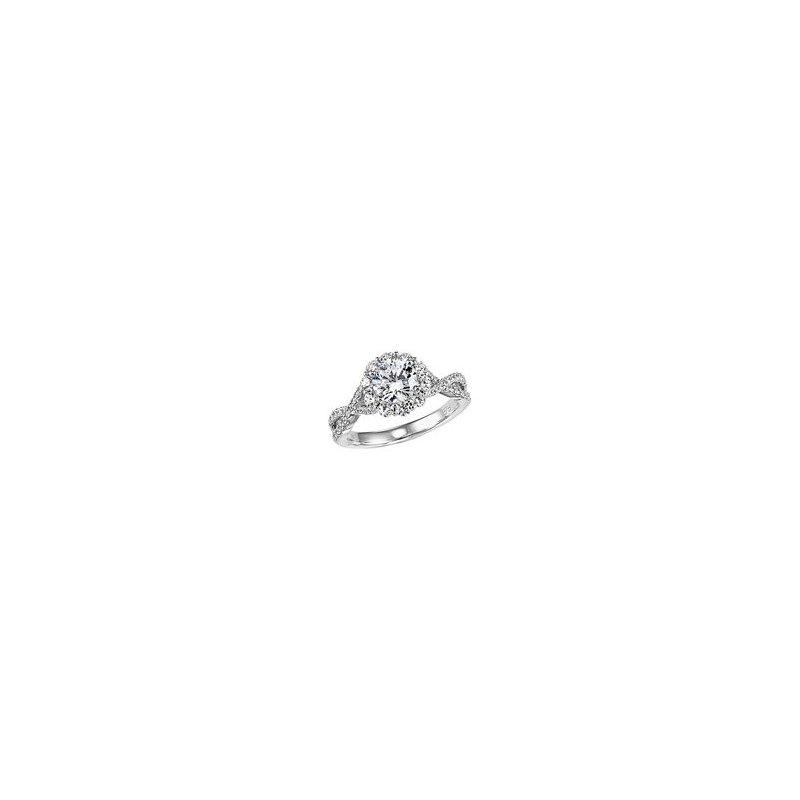 Twist Band Halo Diamond Engagement Ring