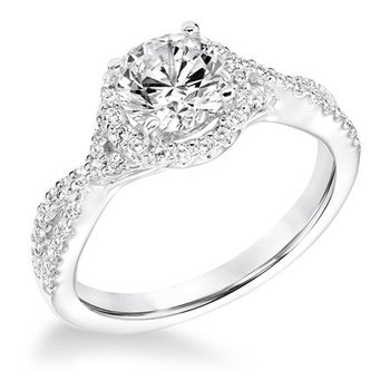 Contemporary Diamond Halo with Diamond Split Shank Engagement Ring