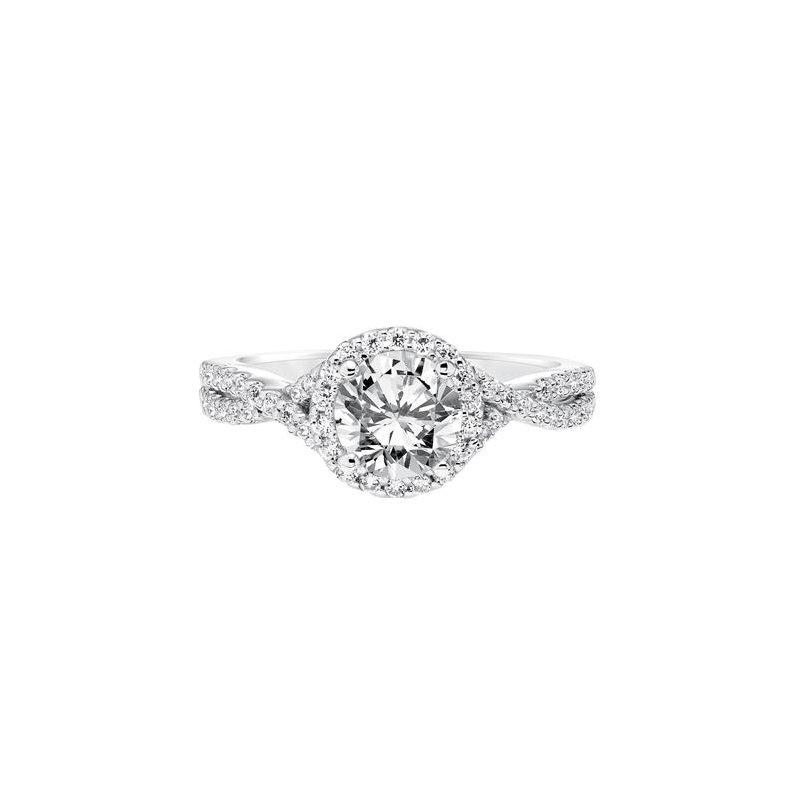 Contemporary Diamond Halo with Diamond Split Shank Engagement Ring