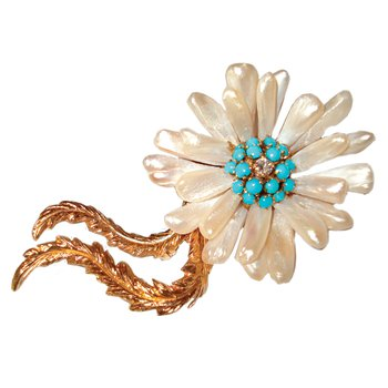 Pearl and Turquoise Flower Pin