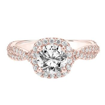 Diamond Halo Engagement Ring with Twisted Diamond Shank