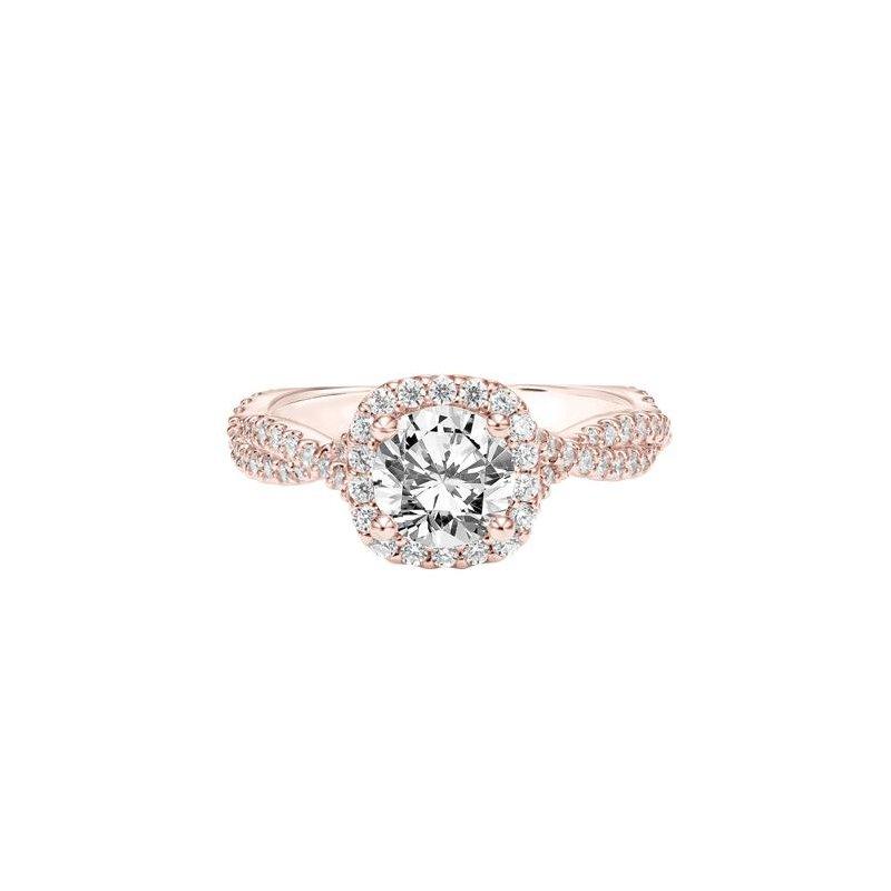 Diamond Halo Engagement Ring with Twisted Diamond Shank