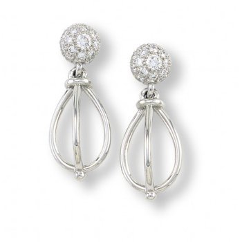Platinum Structure Drop Diamond Earring
