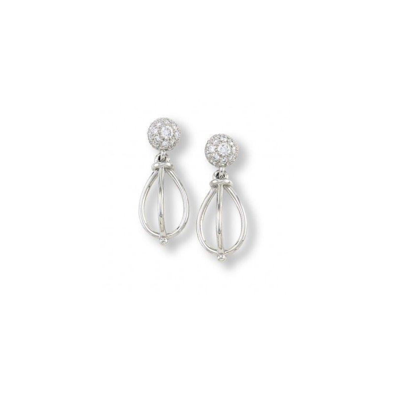 Platinum Structure Drop Diamond Earring