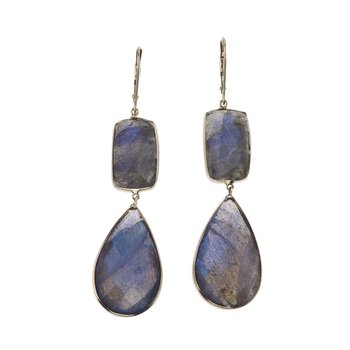 Labradorite Drop Earrings in 14K Gold