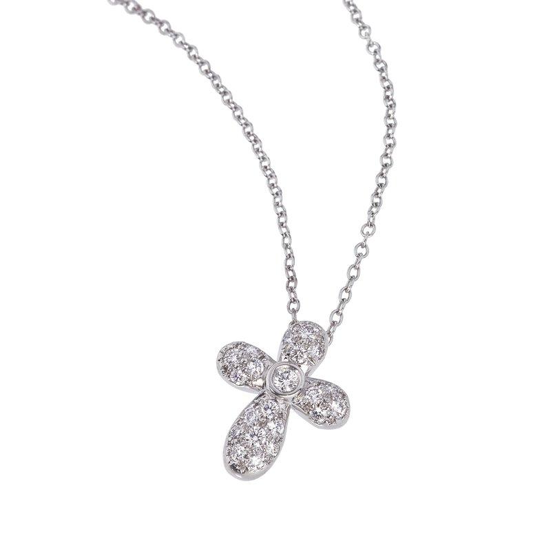 Chubby Pave Diamond Cross in Platinum