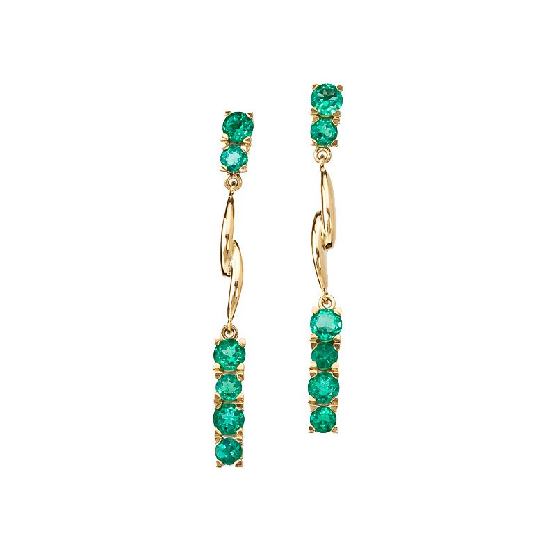 Emerald Ribbon Earrings