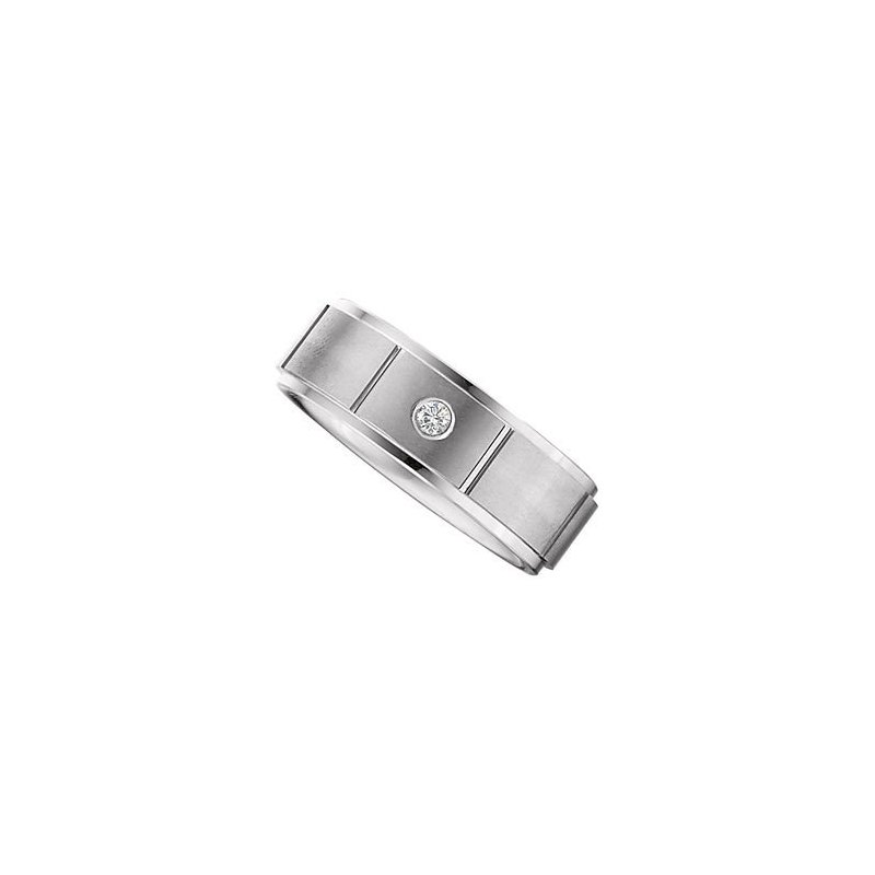 White Tungsten Band with Diamond Accent