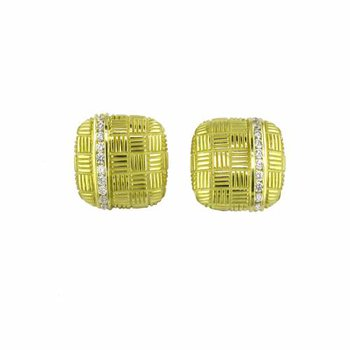 Square Button Parquet Earring with Diamonds