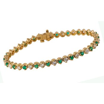 Emerald and Diamond Eternity Bracelet