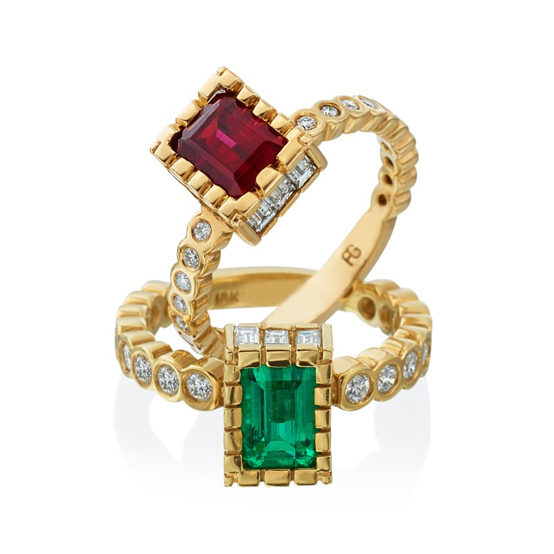 """""""Warring"""" Red & Green Emerald Rings"""