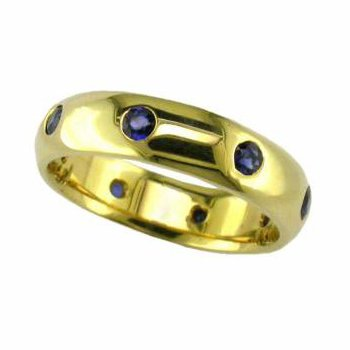 Gold Band with Burnish Set Sapphires