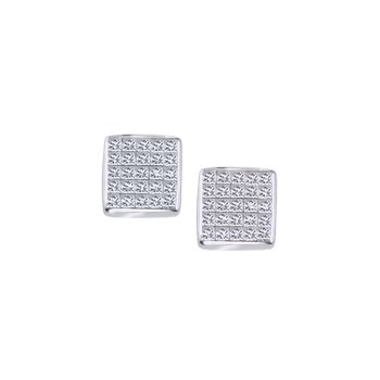 Square Pave Diamond Stud Earrings