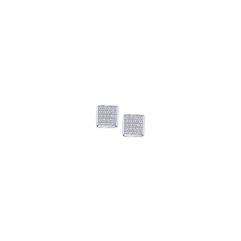 Square Pave Diamond Stud Earrings