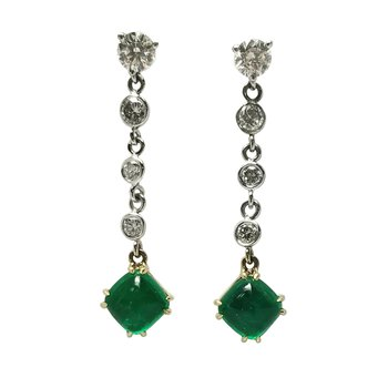 Diamond and Emerald Cabochon Drop Earrings