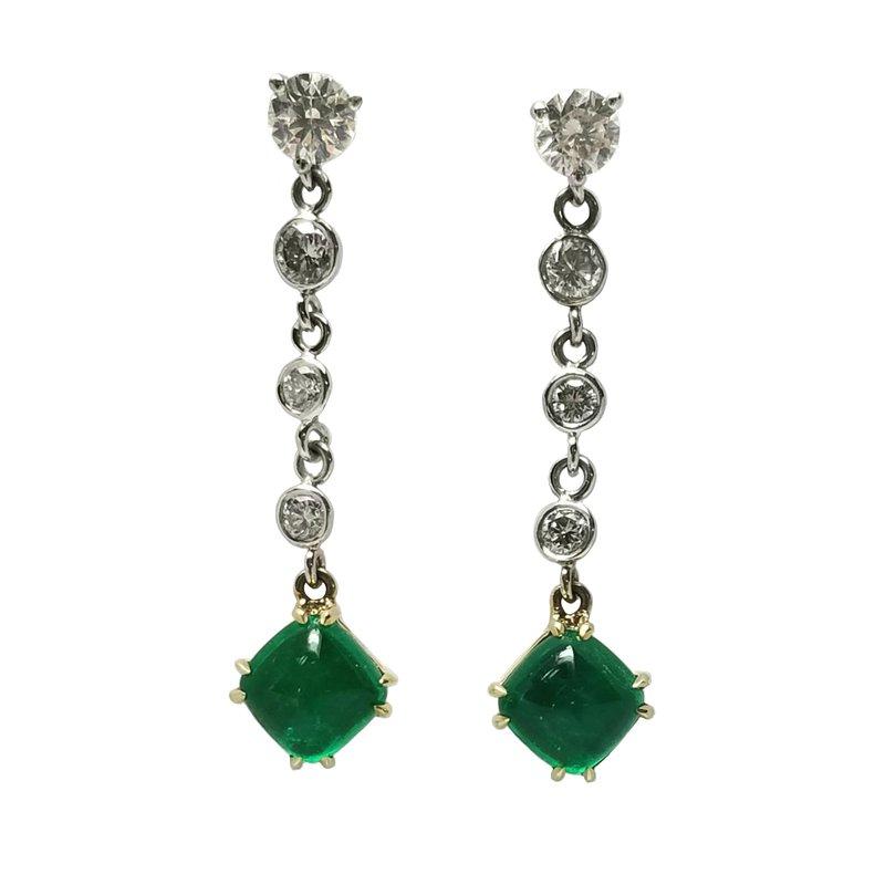 Diamond and Emerald Cabochon Drop Earrings
