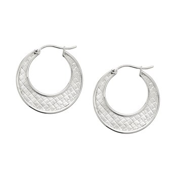 Closed Weave Flat Hoop Earring in Sterling
