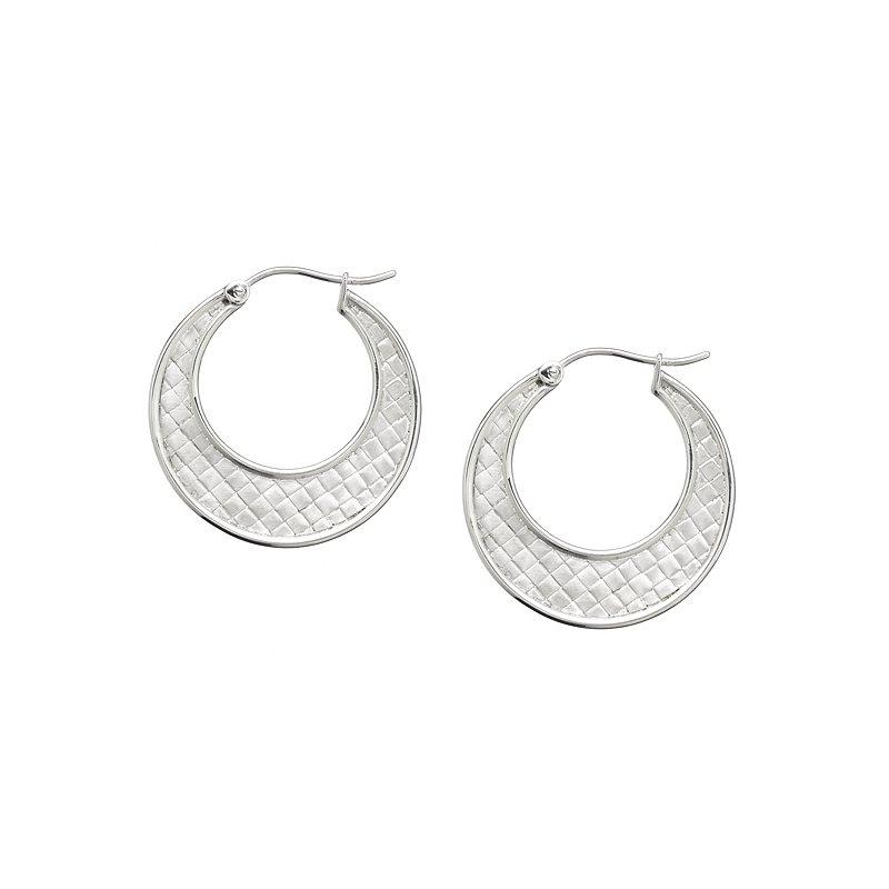 Closed Weave Flat Hoop Earring in Sterling