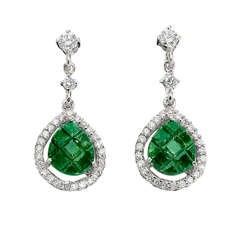 Invisibly Set Tsavorite and Diamond Drop Earrings