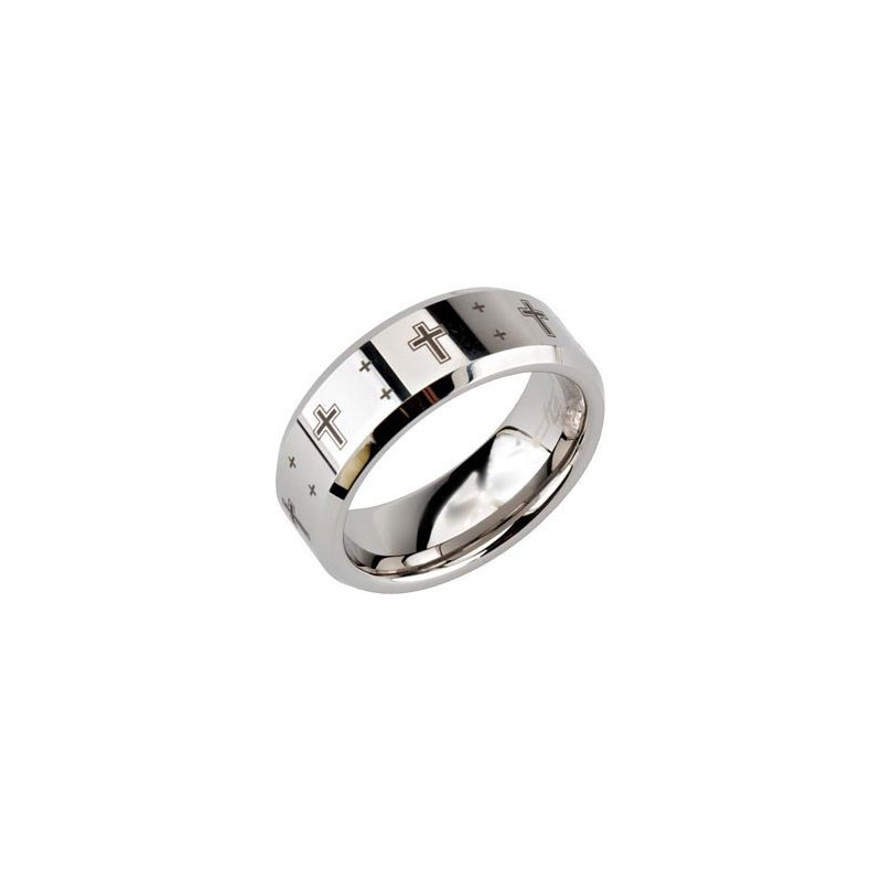Tungsten Band with Black Laser Crosses