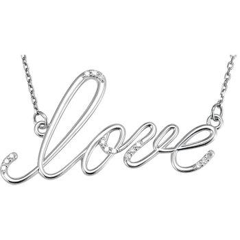 Diamond 'Love' Necklace