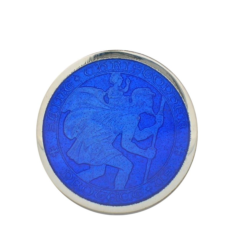 Royal Blue Medium St. Christopher Medal