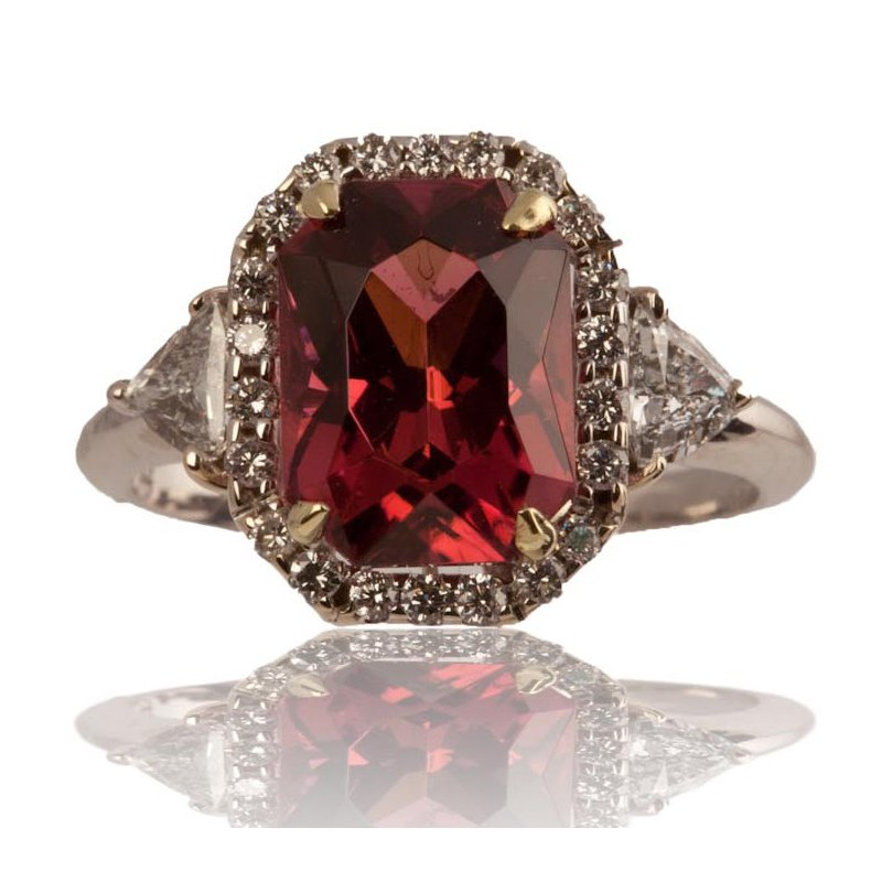 Rubelite and Diamond Ring