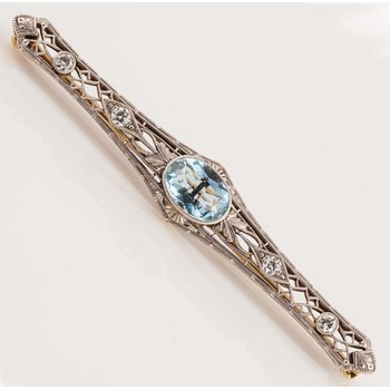 Edwardian Aquamarine Bar Pin