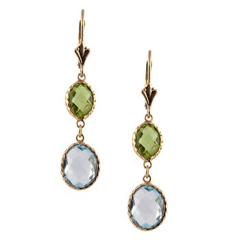 Peridot and Blue Topaz Drop Earrings