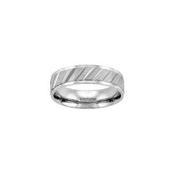 White Gold Wedding Band with Diagonal Engraving