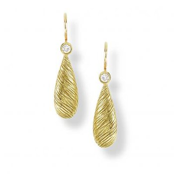 Gold Bark Teardrop Earring