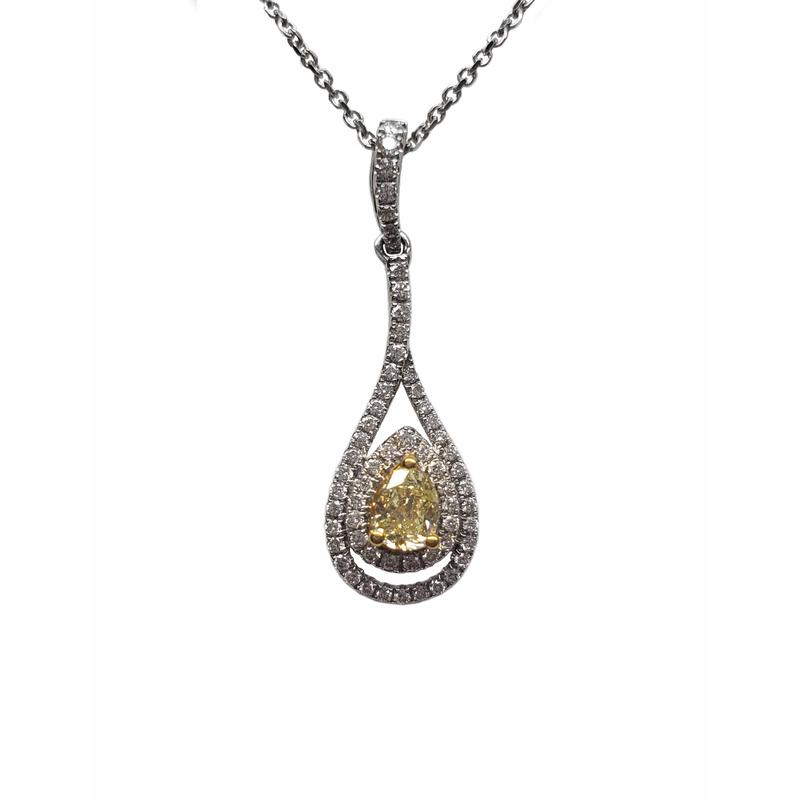 Pear Shape Yellow Diamond Pendant
