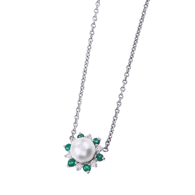 Pearl, Emerald and Diamond Petal Pendant
