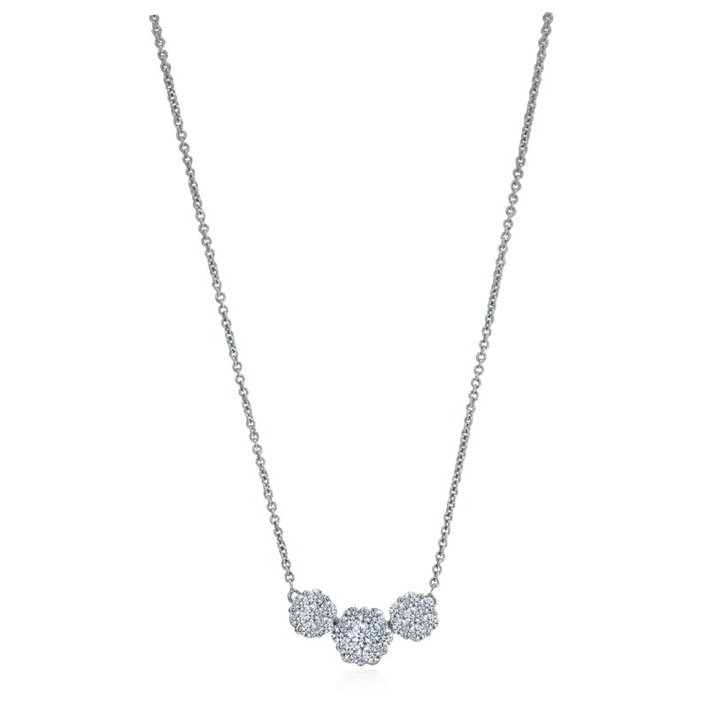 Three Diamond Cluster Necklace