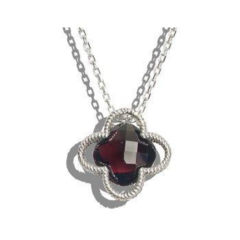 Garnet Clover Necklace
