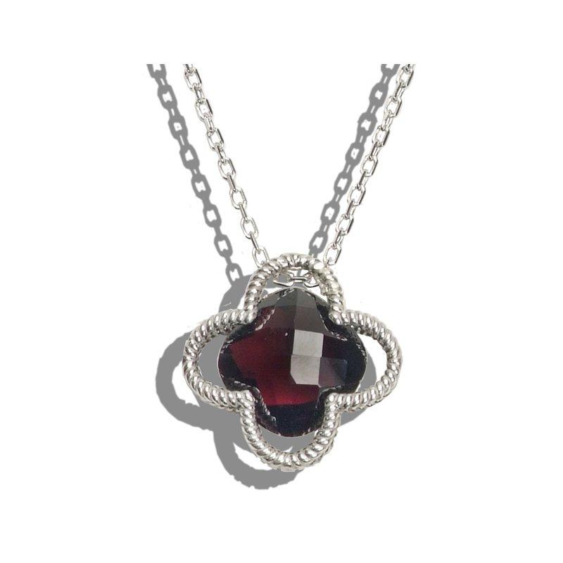 Garnet Clover Necklace