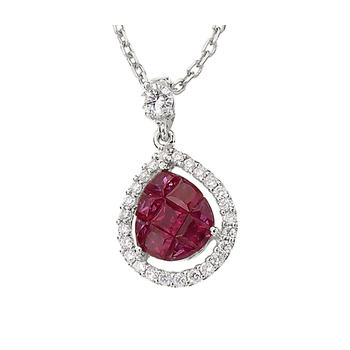 Invisibly Set Ruby and Diamond Pendant