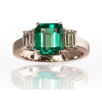 Three Stone Emerald Cut Emerald & Diamond Ring