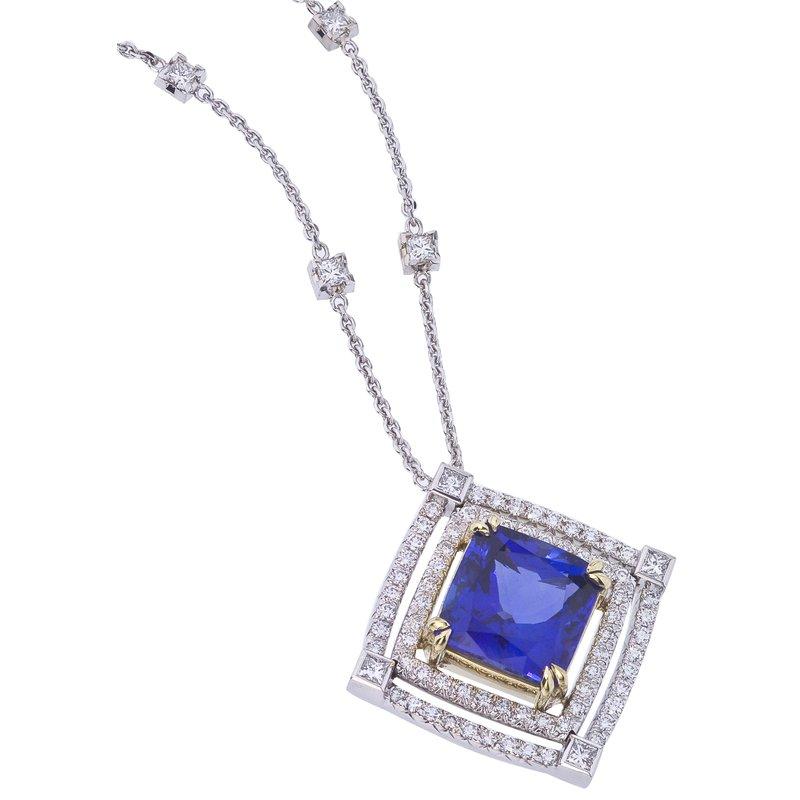 Magnificent Tanzanite Cushion and Diamond Necklace