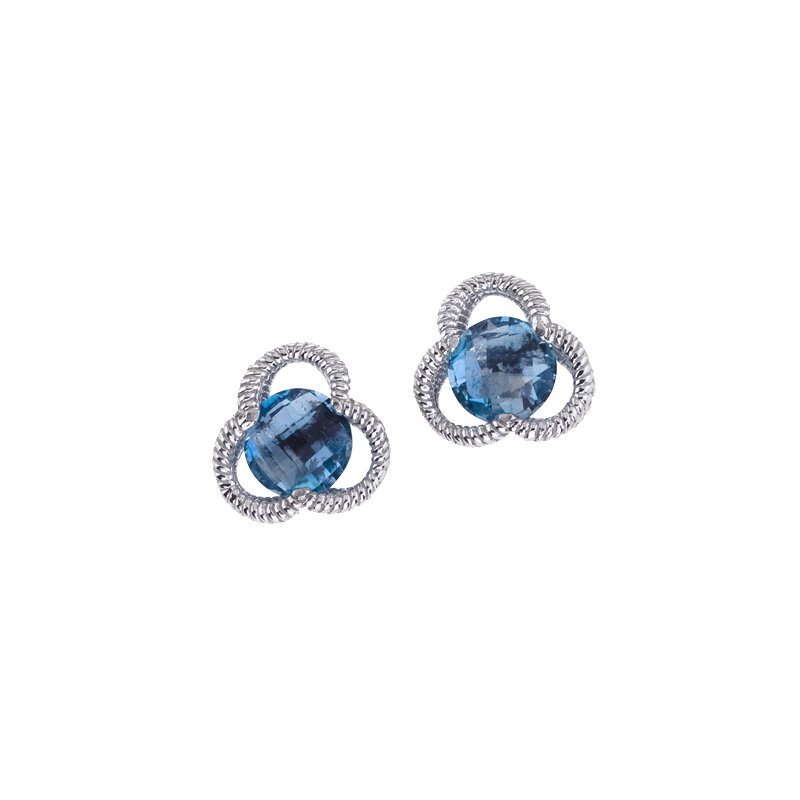 Blue Topaz Clover Earrings in Sterling