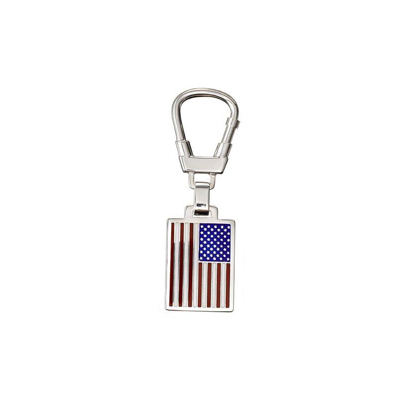 Enamel USA Flag Sterling Key Ring