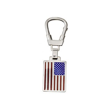 Enamel USA Flag Sterling Key Ring