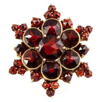 Bohemian Garnet Starburst Pin
