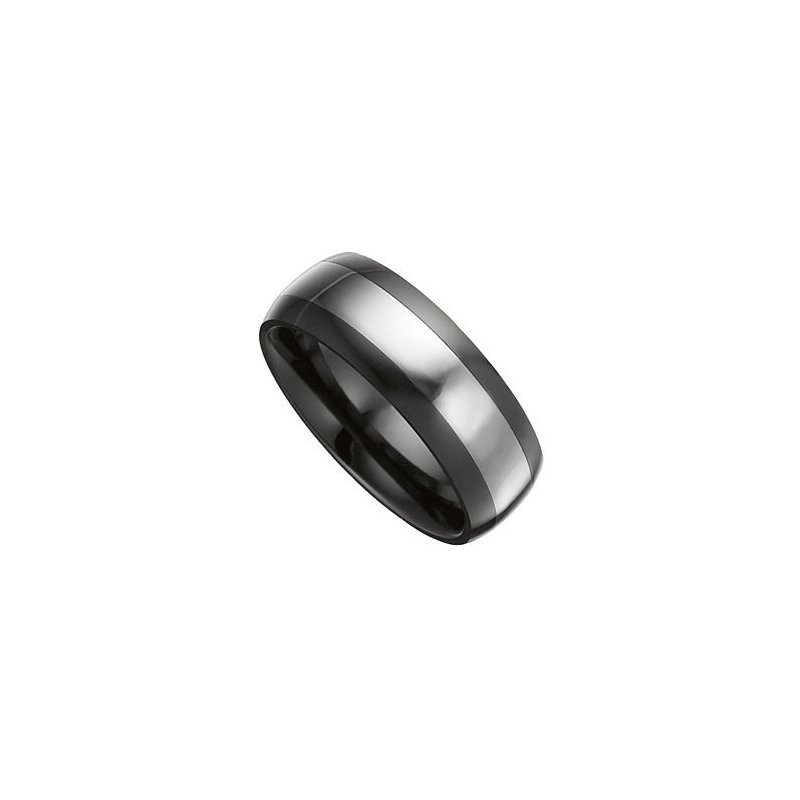 Black Ceramic Band with Tungsten Inlay