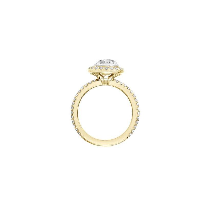 Diamond Halo Engagement Ring with Bezel Set Center and Diamond Shank