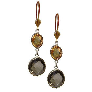 Citrine and Smokey Quartz Drop Earrings