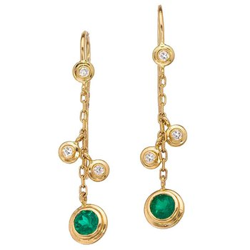 Emerald and Diamond Hanging Earrings