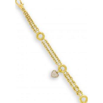 Gold Link Bracelet with Reversible Diamond Heart