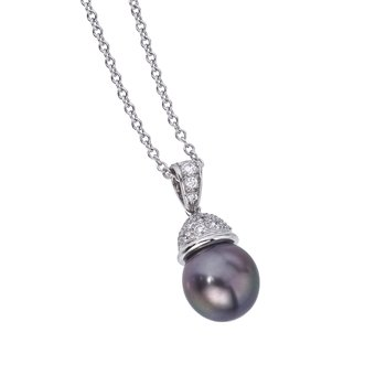 Tahitian Pearl Pendant with Diamond Cap
