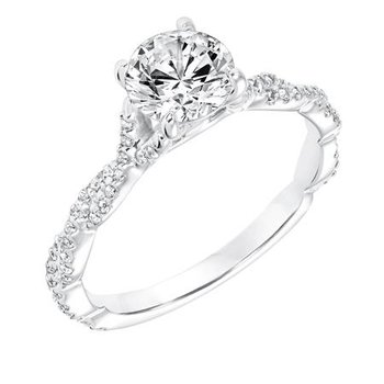 Diamond Prong Set Engagement Ring with Twisted Diamond Shank